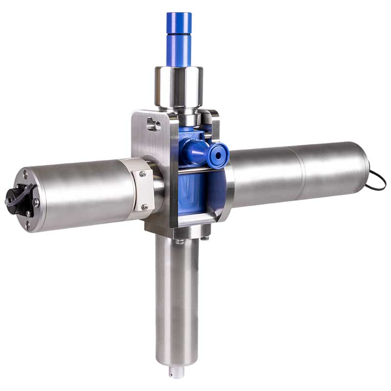Fully assembled Single Use Sensor with pH, conductivity, temperature and 2 UV wavelength measurements