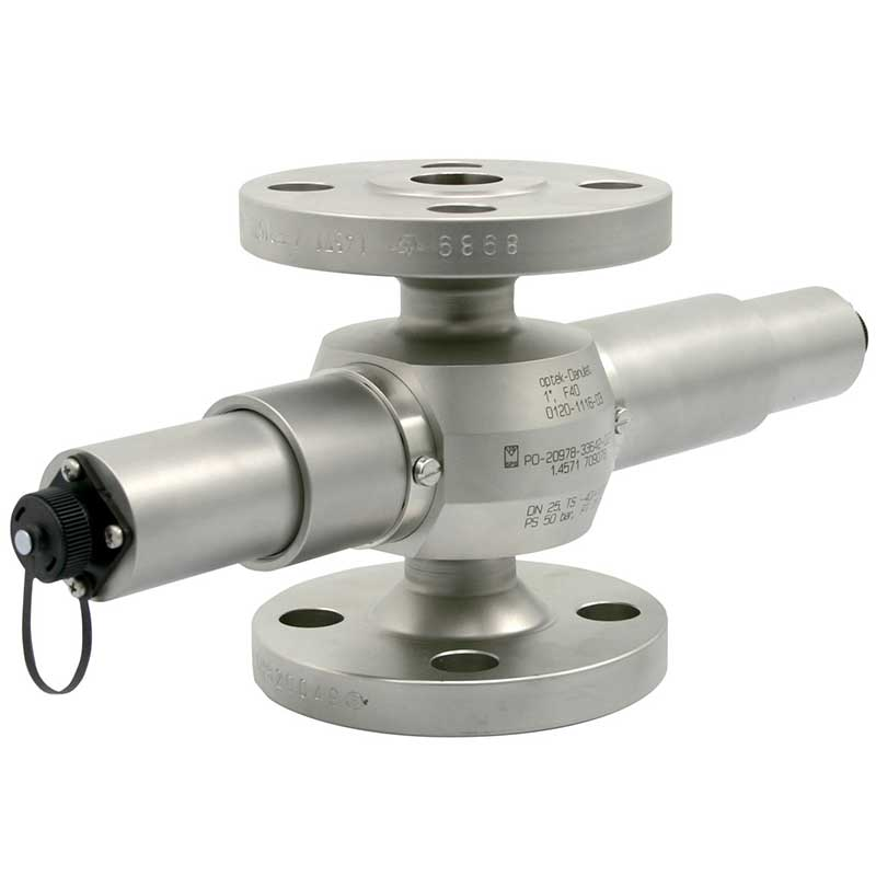 AF16-N inline turbidity sensor connected to a flange sensor body for industrial process control
