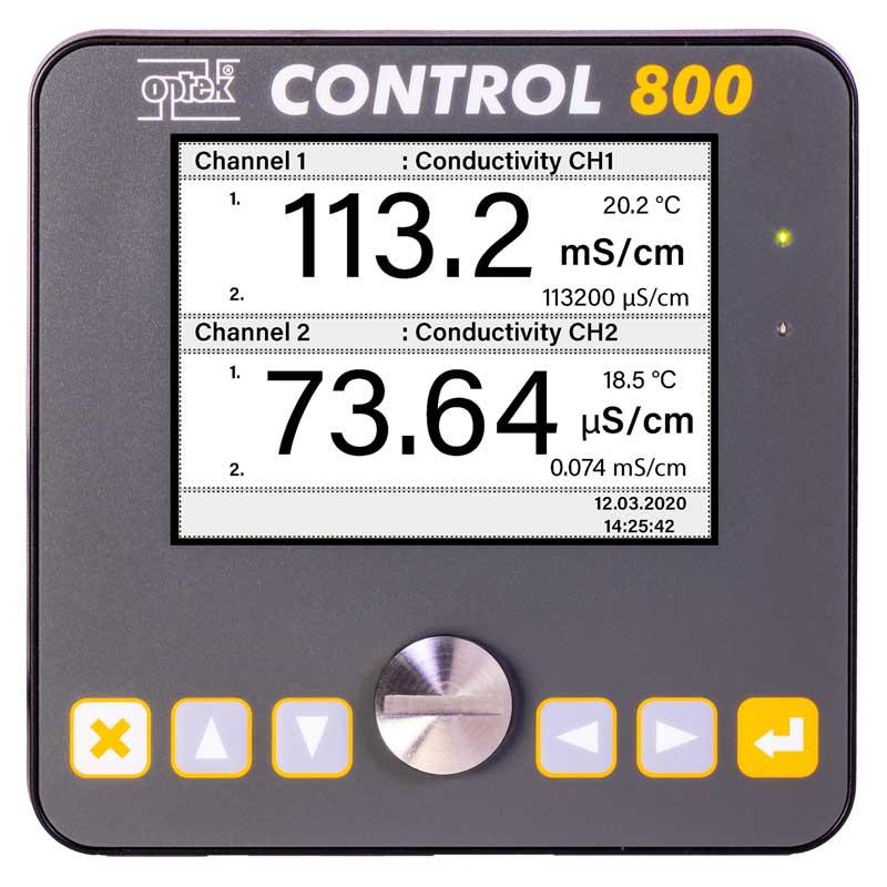 C800 converter showing multi-range conductivity measurements