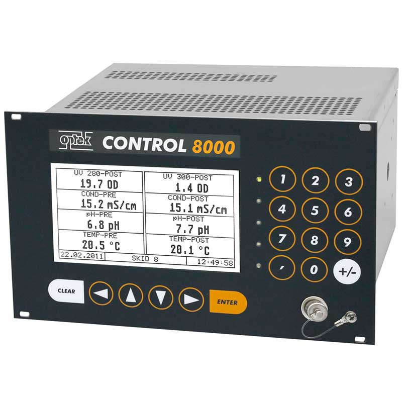 optek C8000 converter performing 8 different measurements simultaneously: UV-280, UV-300, 2x Conductivity, 2x pH, and 2x Temperature